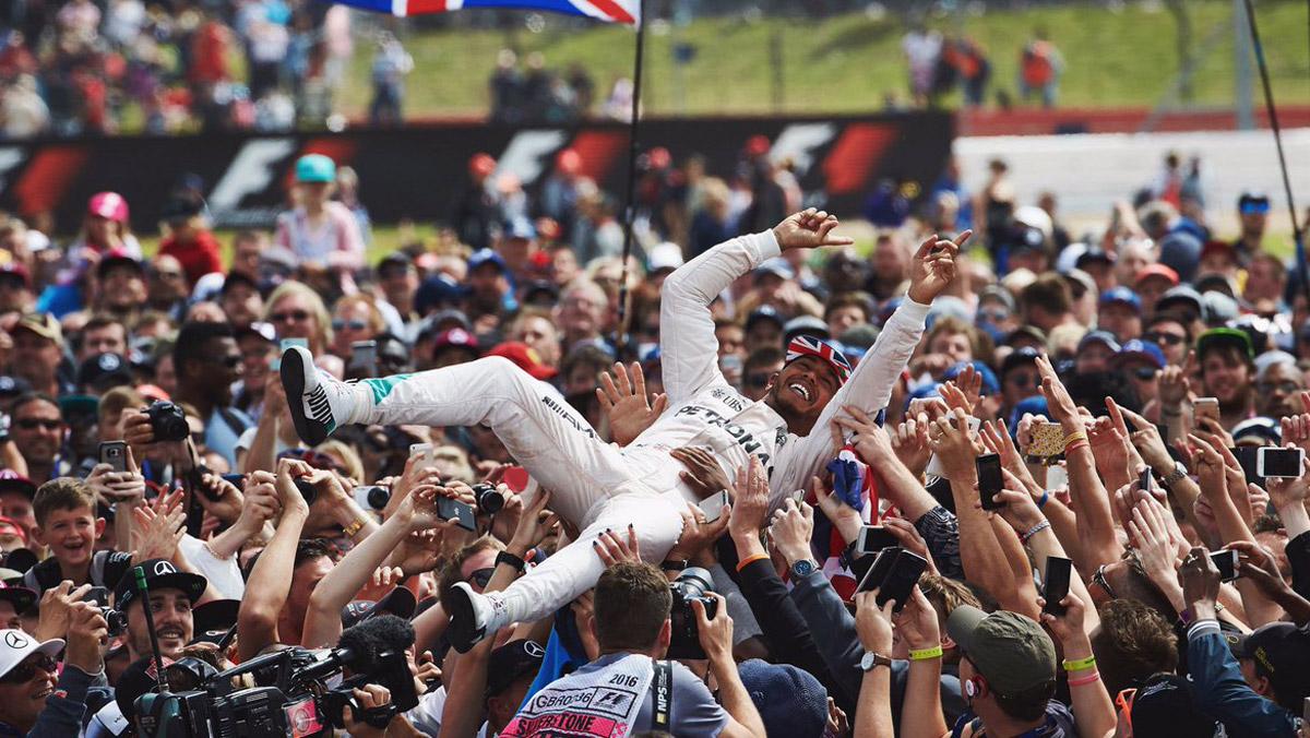 Celebración Hamilton GP Silverstone 2016