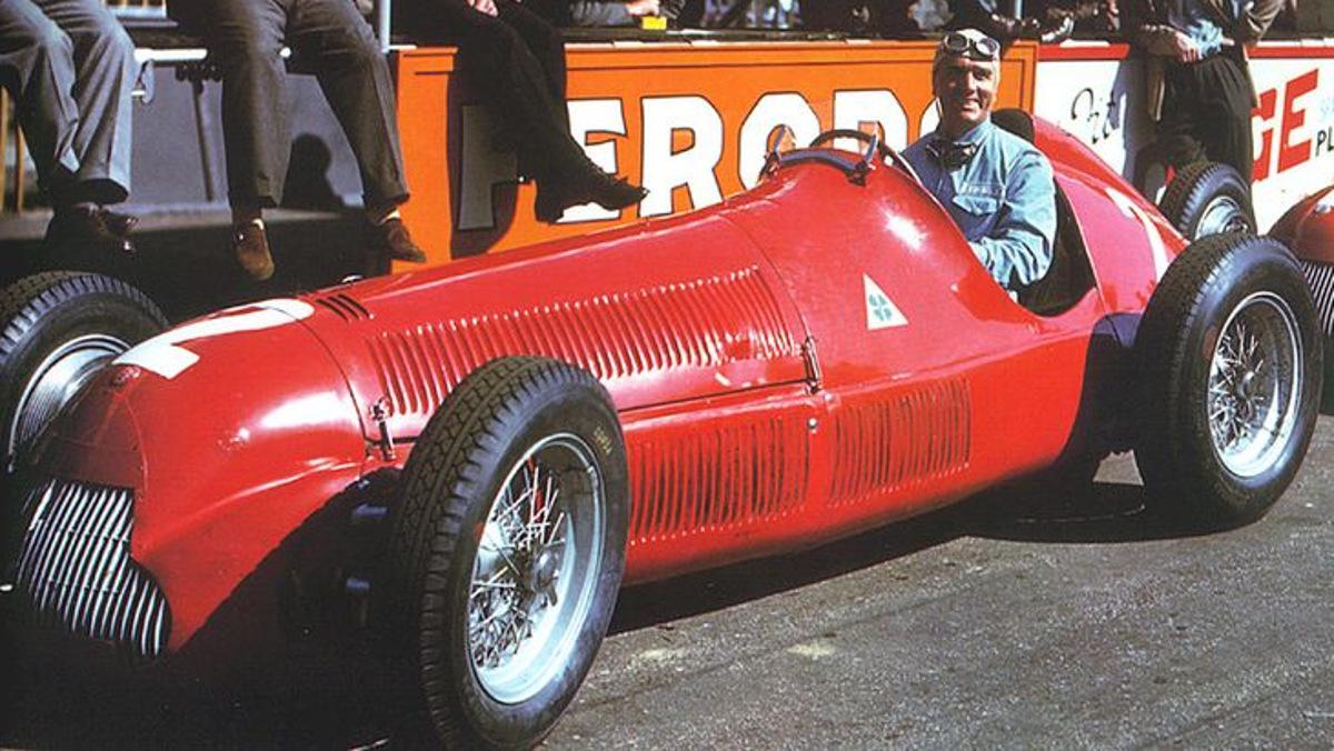 Alfa Romeo 158 y Farinna en Silverstone 1950