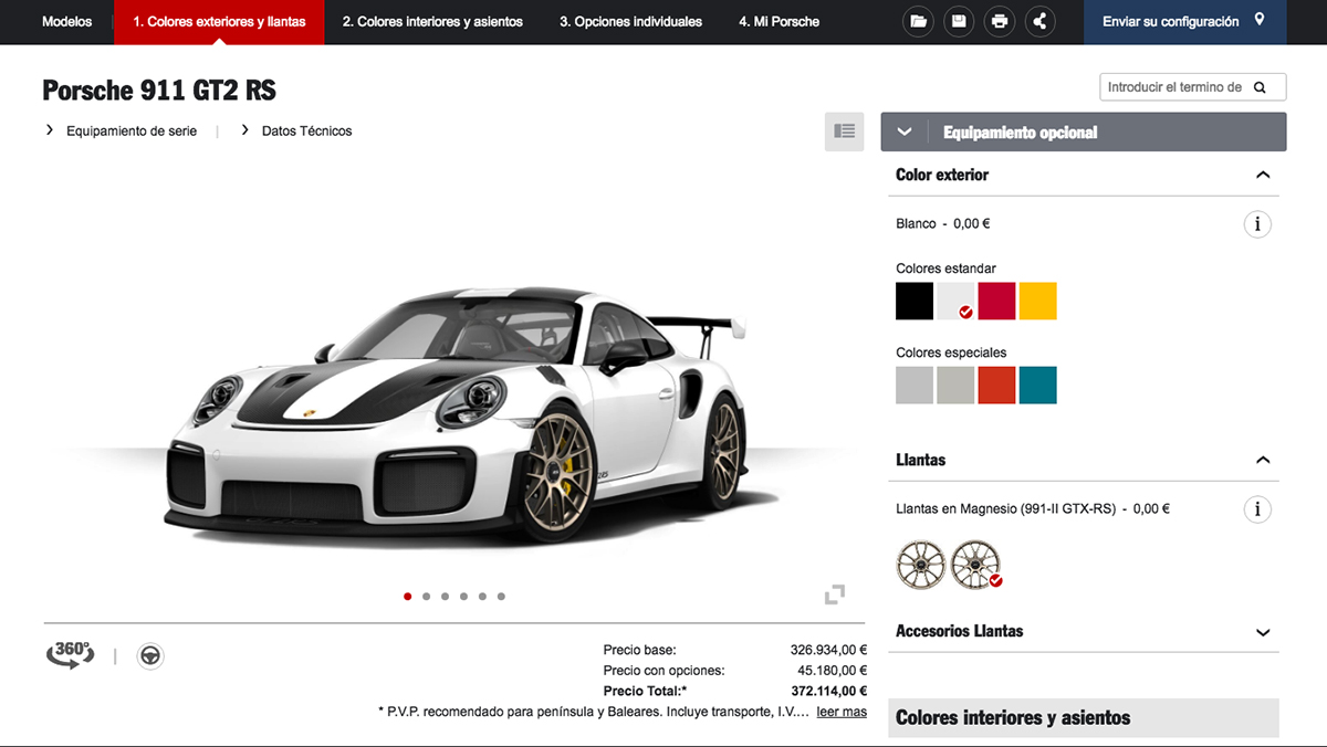 as es el configurador del porsche 911 gt2 rs so ar es gratis el coche no. Black Bedroom Furniture Sets. Home Design Ideas