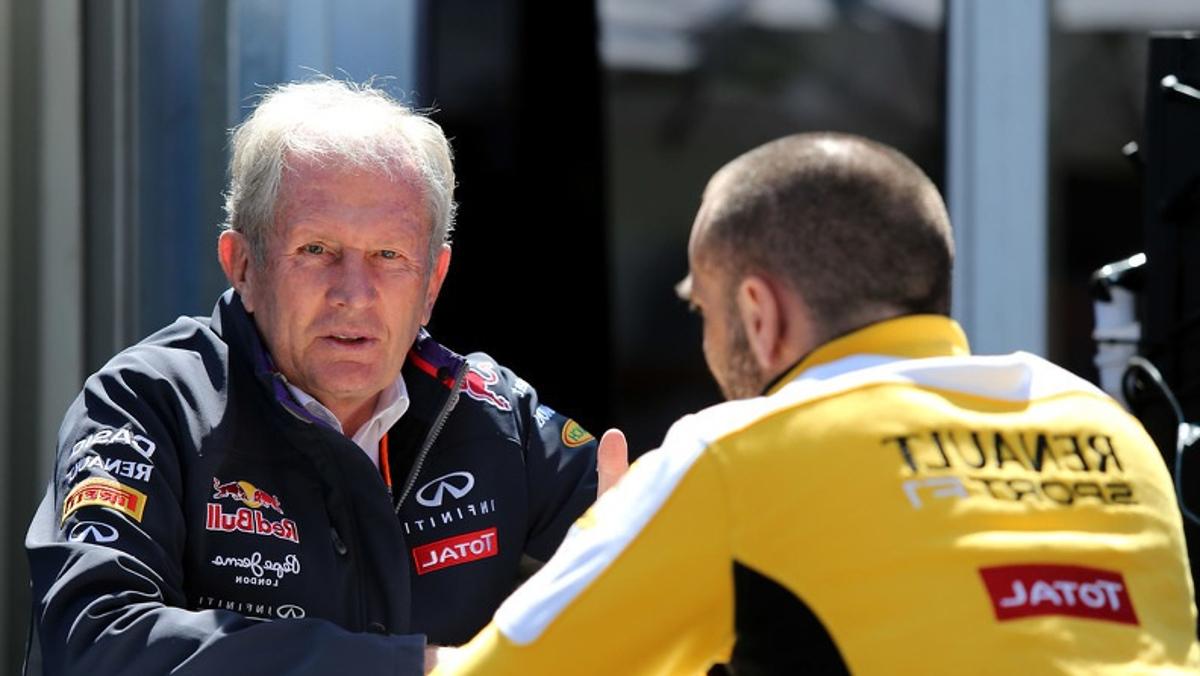 Cyril Abiteboul, y de Red Bull,Helmut Marko