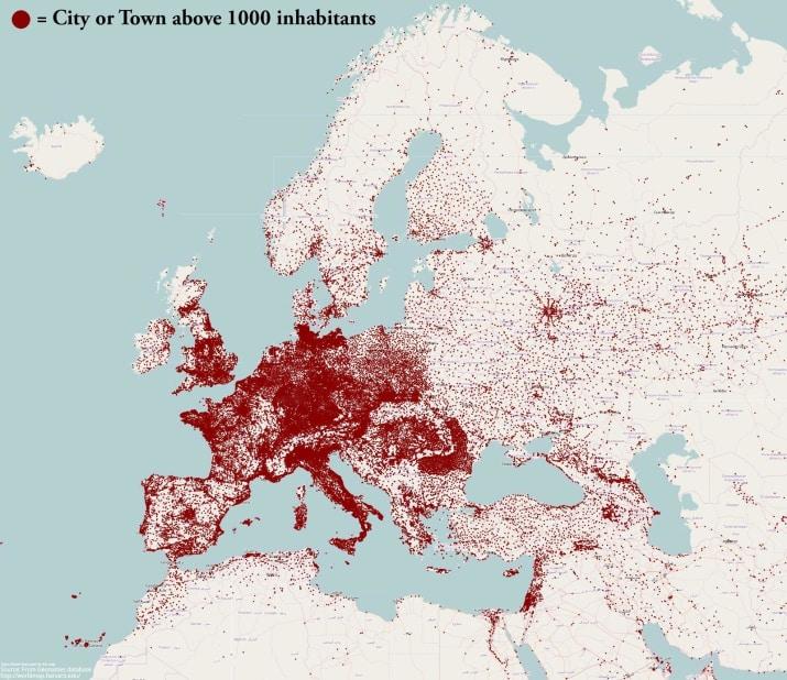 Estas son todas las ciudades con más de 1.000 habitantes