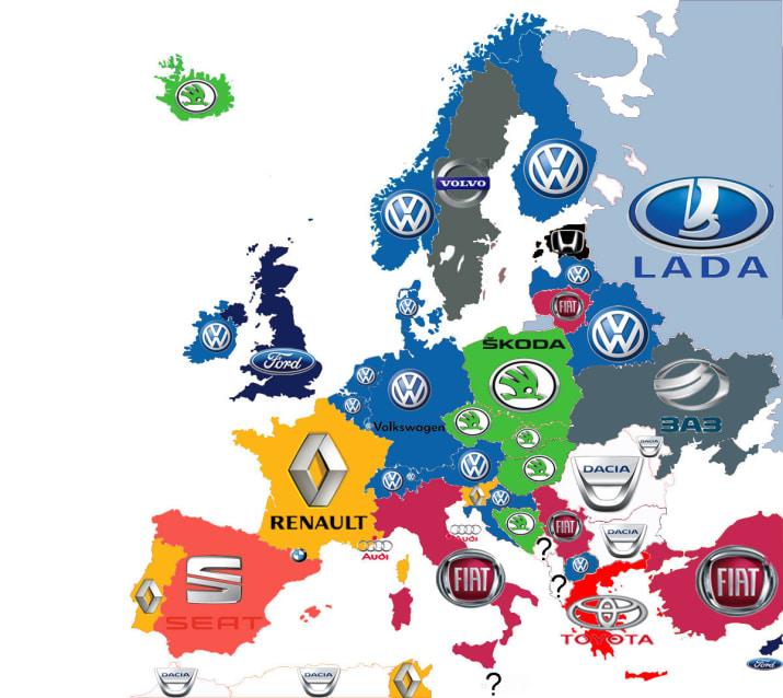 LLas marcas de coches más vendidas en los países europeos