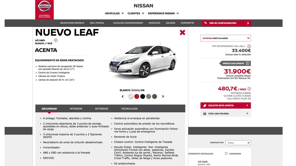 Configurador coches electricos electrico oferta promocion