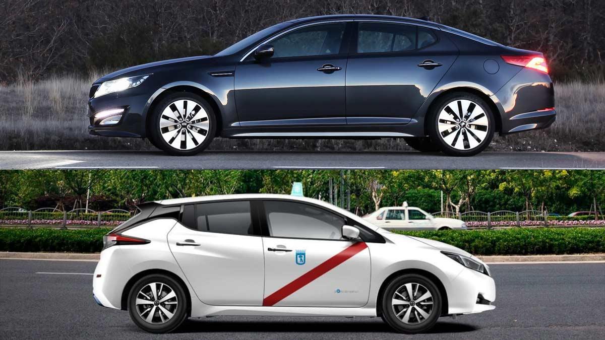 Kia Optima Nissan Leaf taxis madrid
