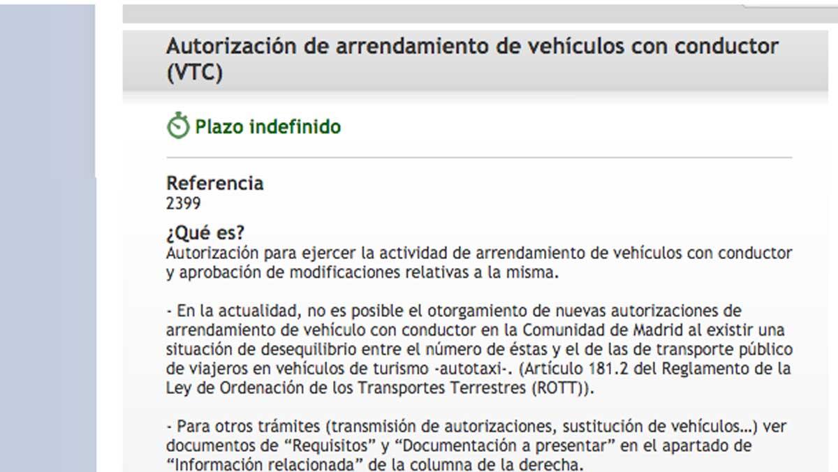 Autorización VTC ayuntamiento de Madrid