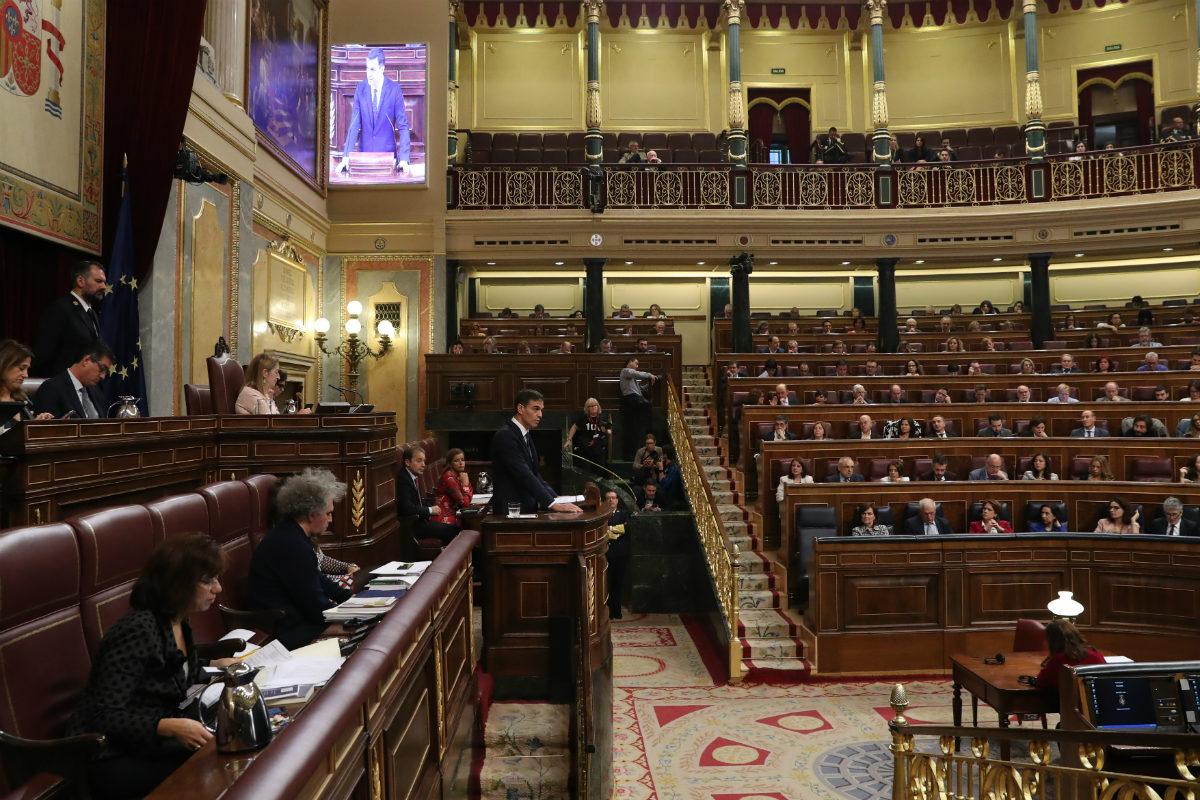 Pedro Sánchez, en la tribuna en una sesión del Congreso
