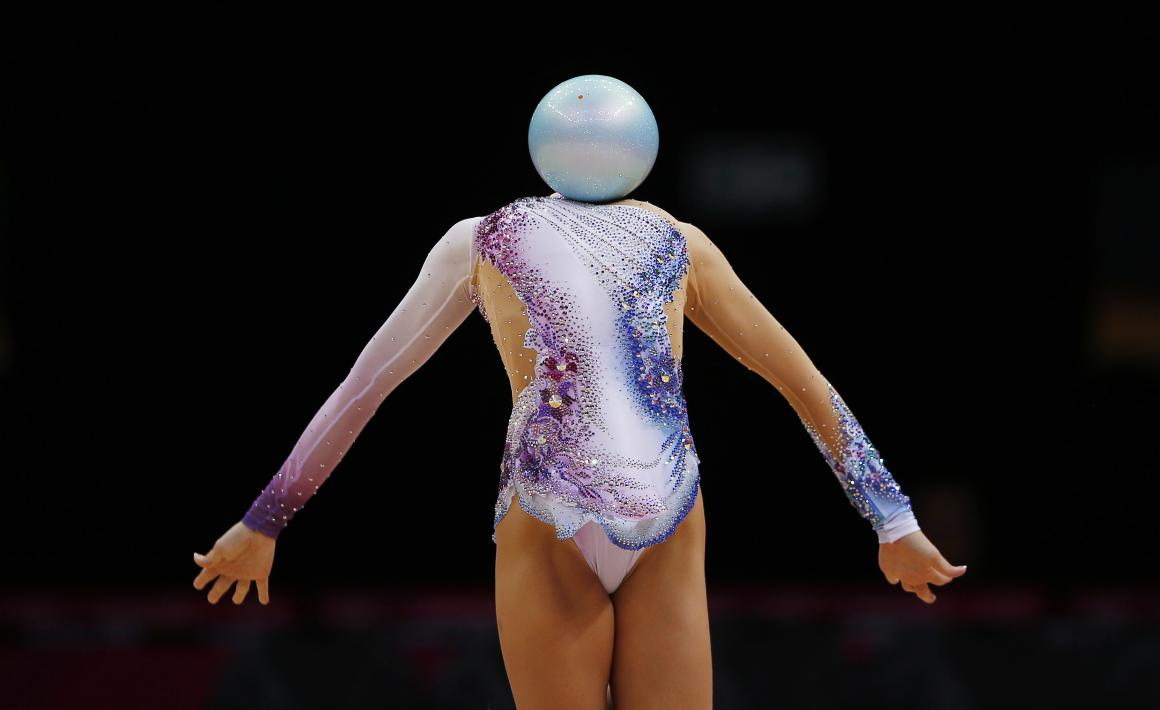 At the all-around rhythmic gymnastics final of the London Olympics, Marcelo Del Pozo captured this surreal moment mid-routine.