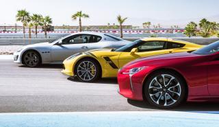 Comparativa Chevrolet Corvette Grand Sport, Maserati GranTurismo Sport y Lexus LC 500 (frontales)