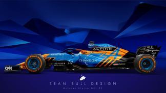 Plano lateral del McLaren Alpine MCL33 de Sean Bull