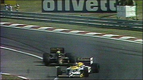 Adelantamiento de Piquet a Senna en el GP de Hungría 1986