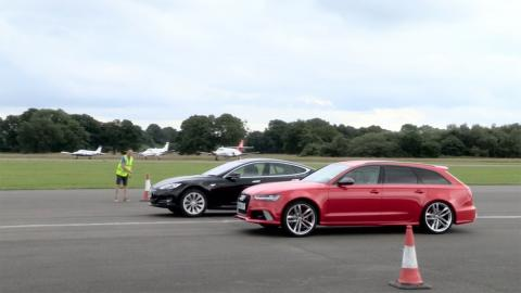 Drag race: Audi RS6 vs Tesla Model S P90D
