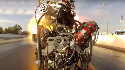 Así explota el motor de un dragster