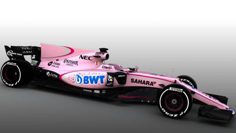 El Force India de color rosa junto al resto de la parrilla de F1 2017
