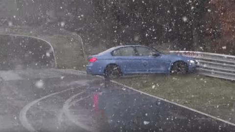 Nieve en Nürburgring accidente drift derrape