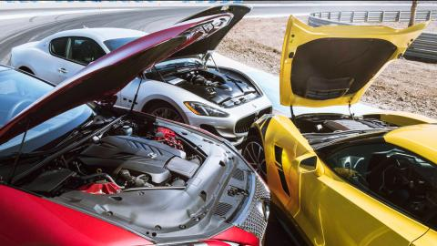 Comparativa Chevrolet Corvette Grand Sport, Maserati GranTurismo Sport y Lexus LC 500 (motores)