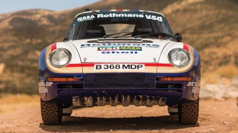 Frontal Porsche 959 Rallye París-Dakar 1985