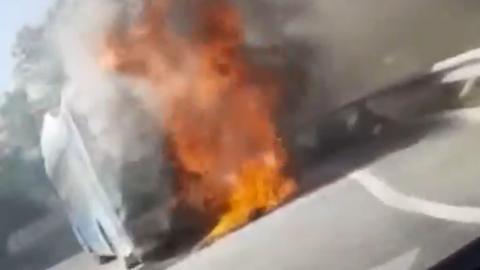 Autobús de la EMT arde en Madrid