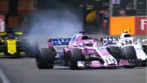 El 'cruce de cables' de Pérez en Singapur F1 2018