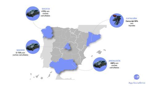 Mapa tipo de radares más frecuentes en cada comunidad autónoma