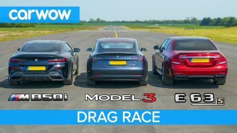 Tesla Model 3 contra Mercedes-AMG E63 S y BMW M850i