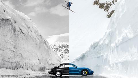 Combinación de la fotografía 'El Salto' y su reinterpretación, de Porsche