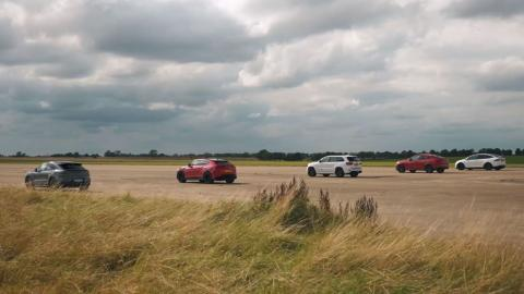 Lamborghini Urus vs BMW X6 M vs Porsche Cayenne Turbo GT vs Tesla Model X vs Jeep Grand Cherokee Trackhawk