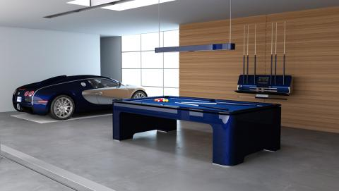 Mesa de billar Elysium junto a Bugatti Veyron