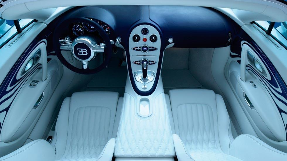 Bugatti Veyron l'or blanc interior lujo cuero
