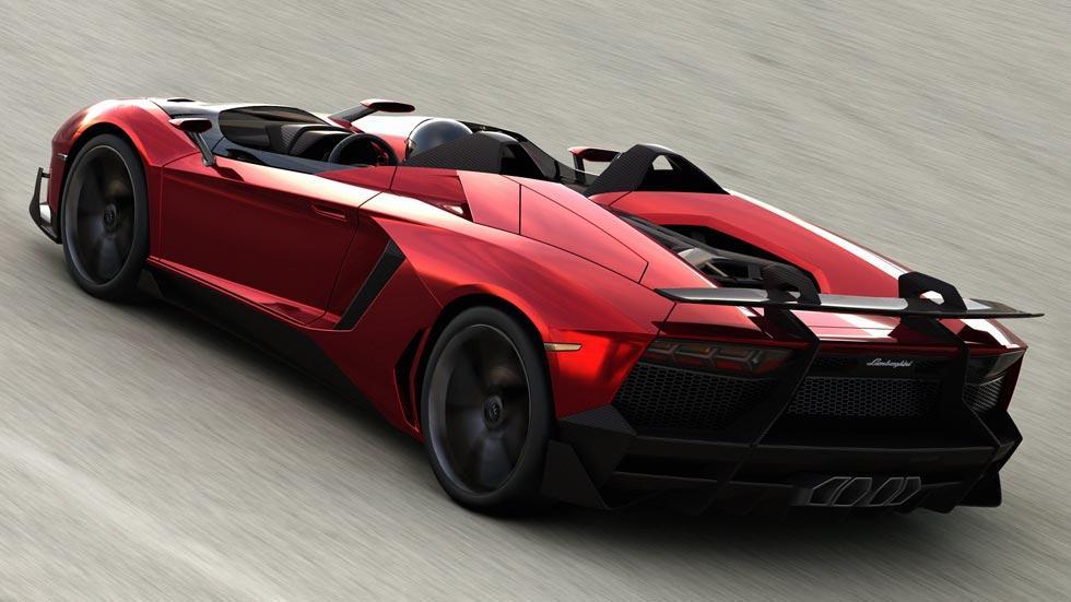 Lamborghini Aventador J trasera cenital rojo cromado
