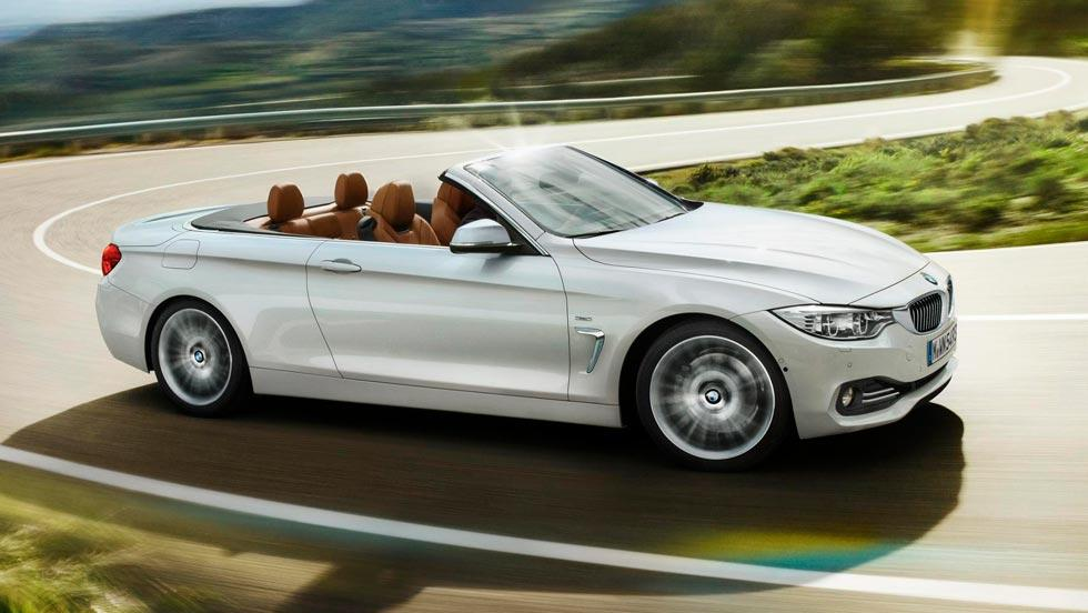 BMW 428i Cabriolet lateral blanco descapotable