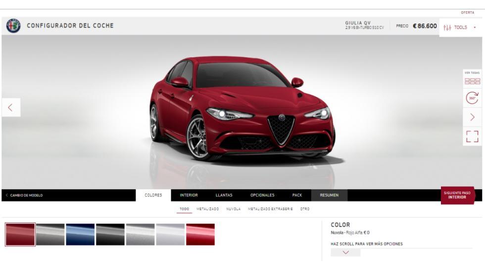 Configurador Alfa Romeo Giulia 2016