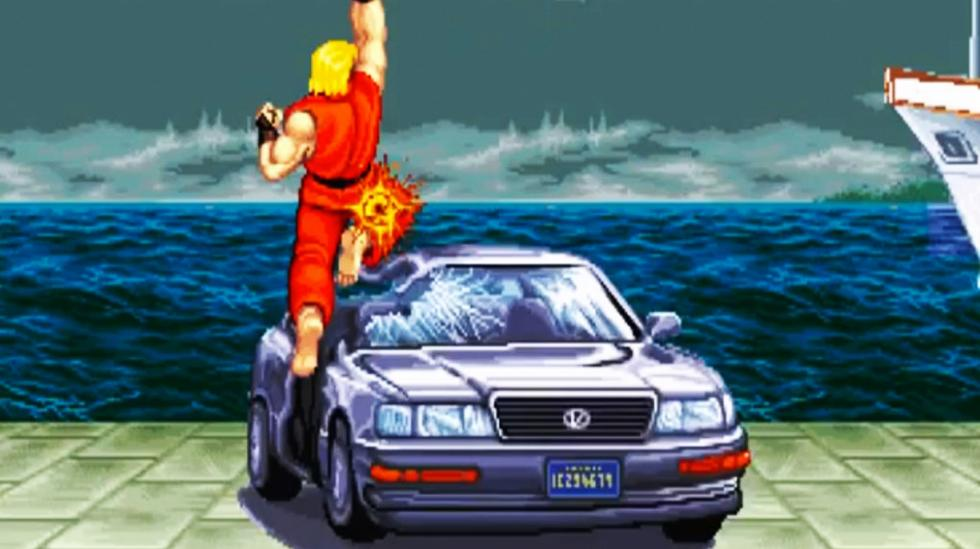 Destrozo de coche estilo Street Fighter