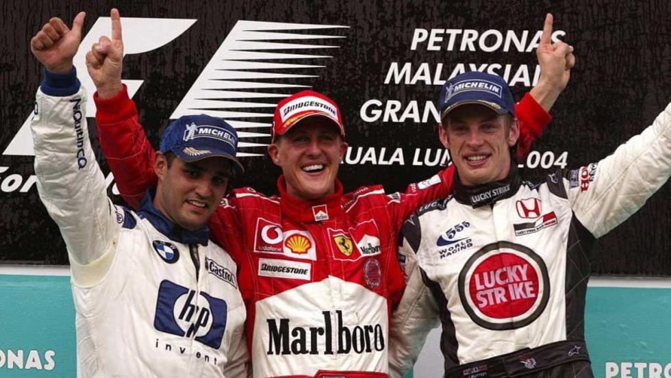 Button logró su primer podio en la F1 en el GP de Malasia 2004