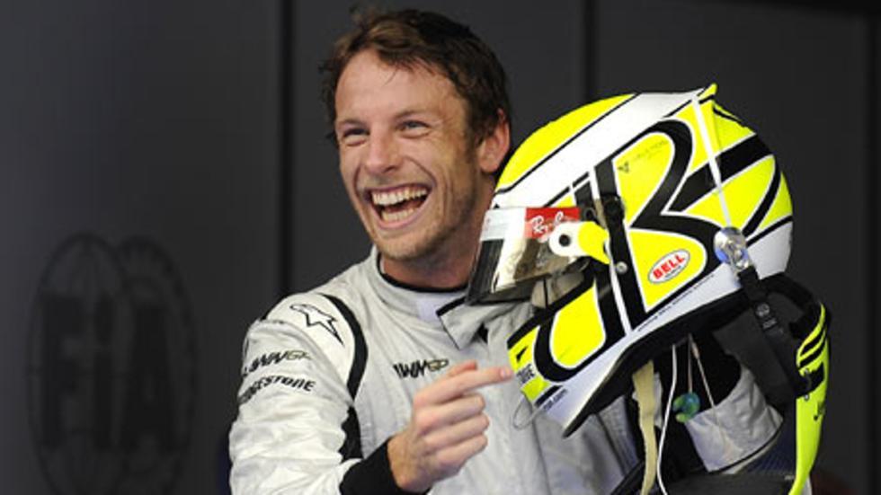 Jenson tiene la felicidad de un Campeón del Mundo dibujada en su rostro