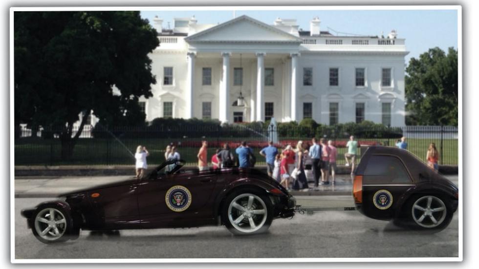 5. Plymouth Prowler con remolque presidencial blindado (2001) para el presidente George W. Bush