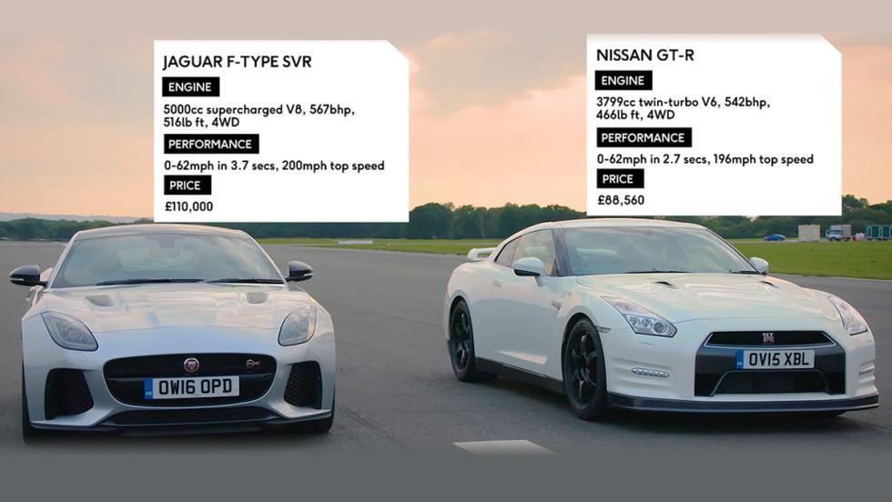 Una carrera entre un Nissan GT-R y un Jaguar F-Type SVR