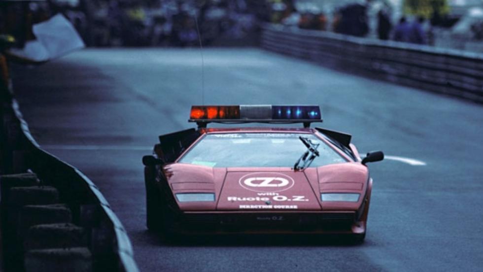 Un Countach, el safety en Mónaco 1981-83, ¿y dónde si no?