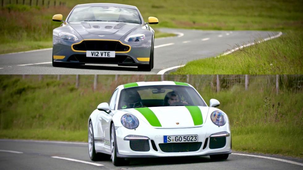Todas las pruebas de Chris Harris para Top Gear - Aston Martin V12 Vantage S contra Porsche 911 R
