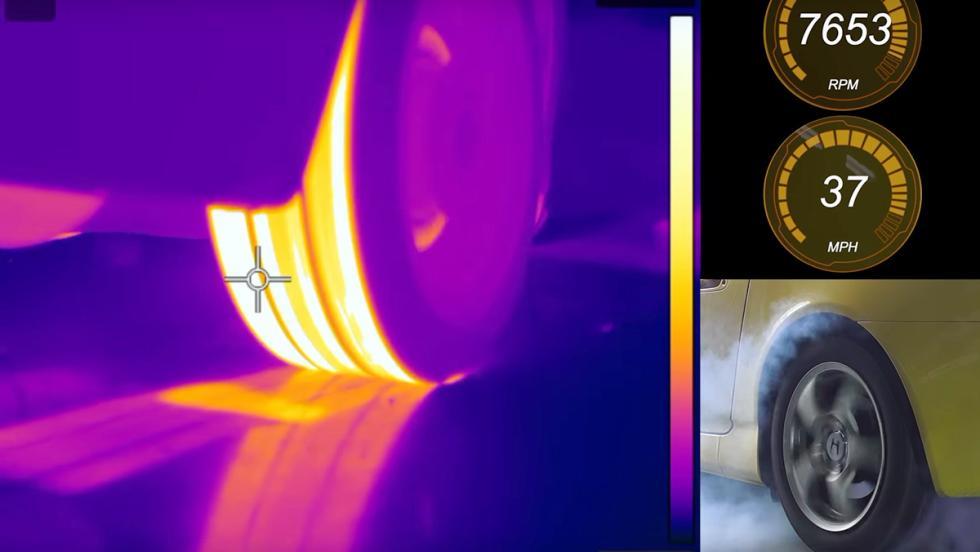 Una quemada de rueda a través de una cámara térmica