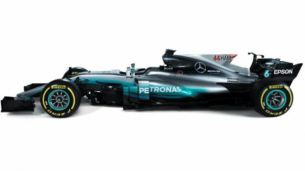 El Mercedes de Hamilton con la nueva rotulación