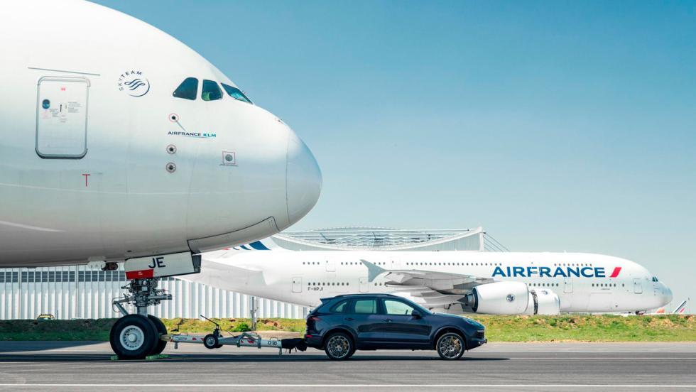 Récord Guinness Cayenne arrastrando Airbus A380