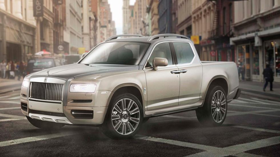 Renders de coches de lujo convertidos en pick-ups: Rolls-Royce Cullinan