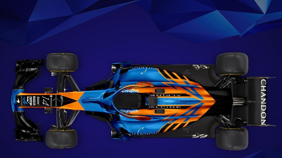 Ángulo cenital del McLaren Alpine MCL33 de Sean Bull