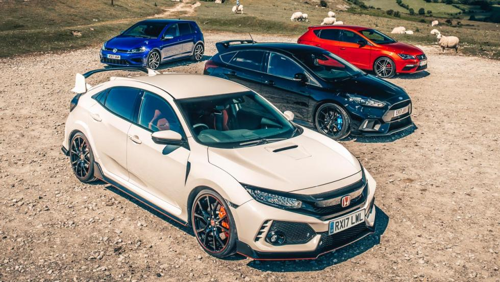 Comparativa Honda Civic Type R, Ford Focus RS, Volkswagen Golf R, Seat León Cupra (ranking)