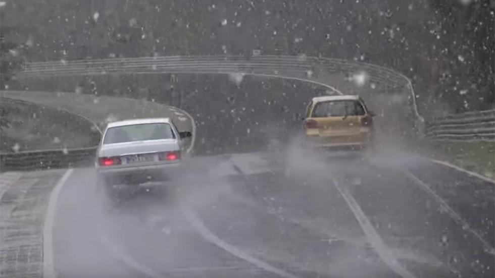 Nieve en Nürburgring accidente drift derrape