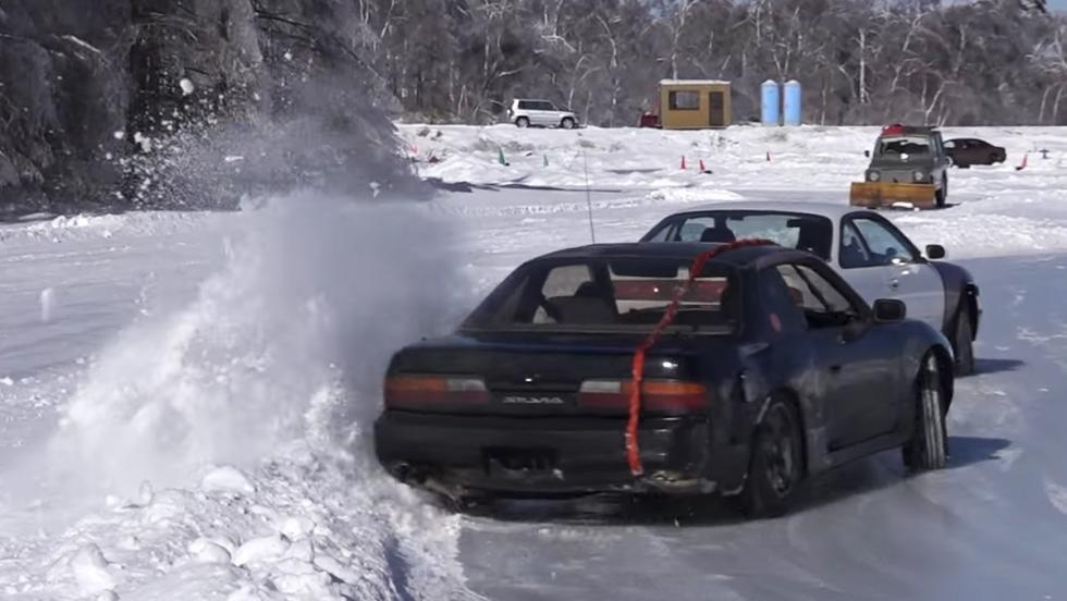Una orgía de drifting en un lago helado