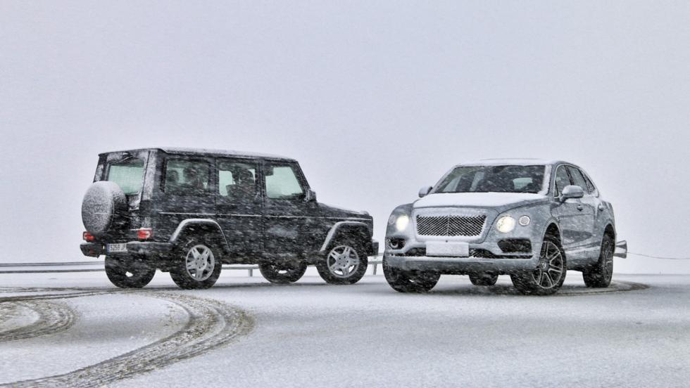 Mercedes Clse G vs Bentley Bentayga (nieve)