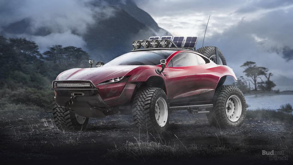 Tesla Roadster convertido en 4x4
