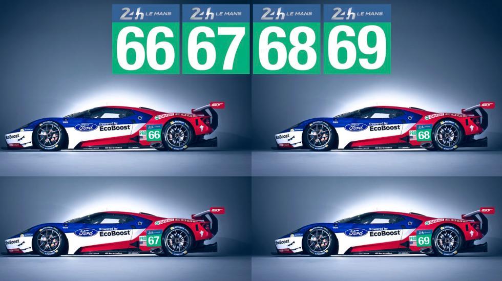Los cuatro Ford GT que competirán este año.