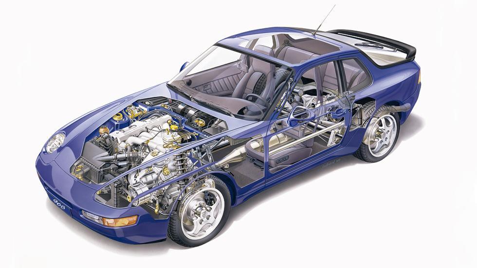 En este corte del Porsche 968 se puede ver el último cuatro cilindros propiamente Porsche